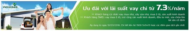 Vietcombank ưu đãi lãi suất vay từ 7.3%/năm Banner 20ngang 20CHO 20VAY